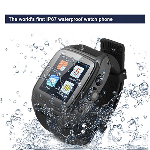 Newest Ip67 Waterproof 1.54 Inch Imacwear M7 Smart Watch Phone -- Android 4.2.2 Os Mtk6572 Dual-Core Cpu 3G/Gsm/Wcdma 1.54 Inch Ips Capacitive Screen Sports Pedometer Heart Rate Monitor Gps 5.0 Mp Camera Smart Watch Phone (Black)