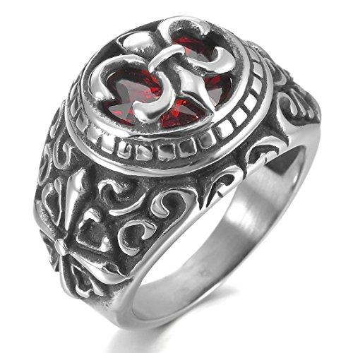 INBLUE Men's Stainless Steel Ring CZ Silver Tone Black Red Celtic Medieval Cross Knight Fleur De Lis Oval Signet Size10 (Men Fleur De Lis Ring compare prices)
