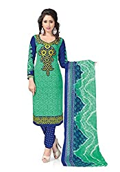 Nazaquat Green Printed Crepe Unstitched Dress Material RE4305