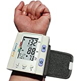 LotFancy FDA Approved Digital Auto Wrist Type Blood Pressure Monitor with Case,30x4 Memories, WHO Indicator,Last 3 Results Average