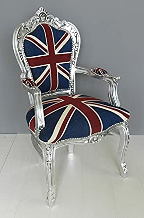 Poltrona barocco argento bandiera inglese UK Union Jack