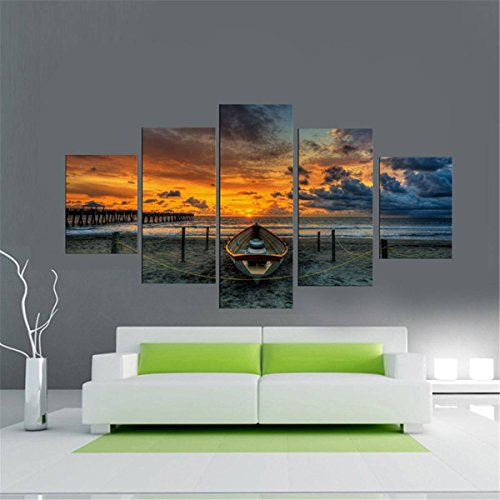 king do way set de 5 parties bord de la mer avec bateau impressions sur toile murale image. Black Bedroom Furniture Sets. Home Design Ideas