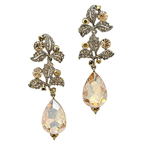 Rosemarie Collections Women's Statement Earrings Antique Gold Color Leafy Crystal Drop