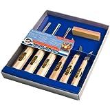 Kirschen 3427 Kerbschnitzgarnitur, 6-teilig, Inhalt: 3 Stück Kerbschnitzbeite, 3 Stück Kerbschnitzmesser mit 1 Stück Abziehstein