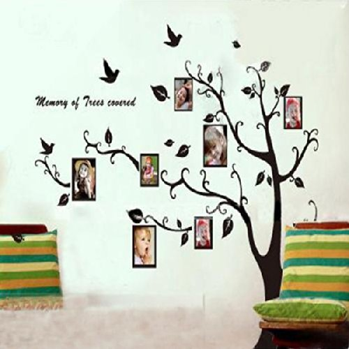 Black Tree Pattern Photo Posted Removable Wall Paper Stickers To Left front-4931