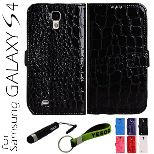 Yesoo (Black) Crocodile Skin Luxury High Quality Pu Leather Wallet Case For Samsung Galaxy S4 Iv S 4 I9500, Black Interior Including Credit Cards Holder & Pockets To Keep Bank Cards, Driver License, Id Cases Come With Aluminum Touch Pen And Silicone Key C