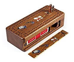Fly Fishing Flies Wooden Cribbage Board With Quality Metal Pegs And Deck Of Cards
