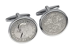 60th Birthday -1955 Sixpence Cufflinks- Ideal 60th Gift-100% satisfaction guarantee