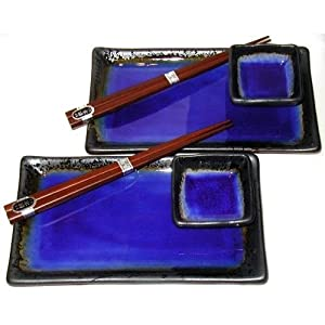 Japanese Cobalt Blue Kosui 6 Piece Sushi Plate Set for Two