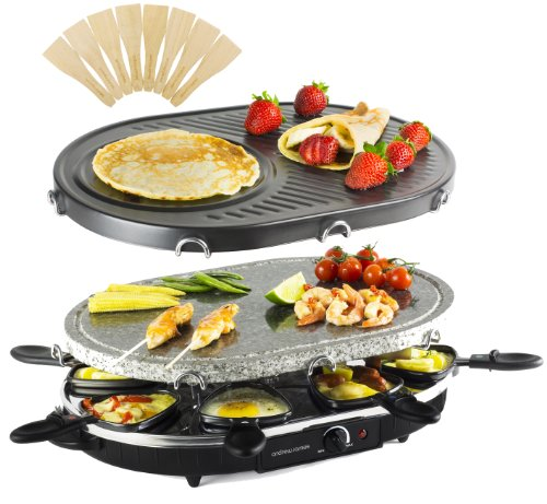 Andrew James Rustic Stone Raclette Grill with Thermostatic Heat Control + Crepe/Fajita Attachment