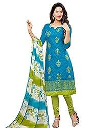 Present Blue Jacquard Cotton Dress Material