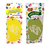 JELLY BELLY TWIN PACK 2D BEAN SWEETS SCENT CAR AIR FRESHENER - LEMON DROP + JUICY PEAR