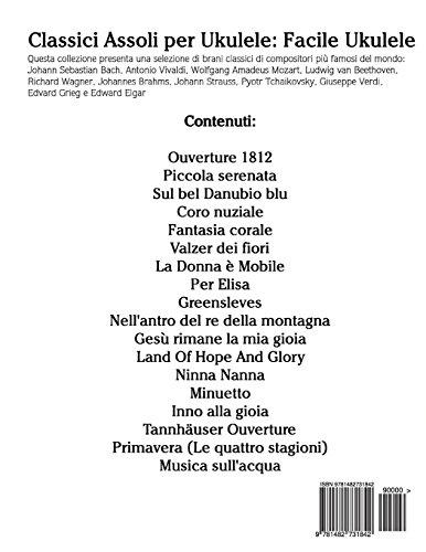 Classici Assoli per Ukulele: Facile Ukulele! Con musiche di Bach, Mozart, Beethoven, Vivaldi e altri compositori (In notazione standard e tablature)