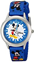 "Disney Kids' W000022 ""Time Teacher"" Stainless Steel Watch with Blue Nylon Band by Disney"