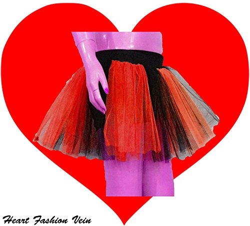 Red Black Two Layer Two Tone Stripe Tutu Skirt front-67554