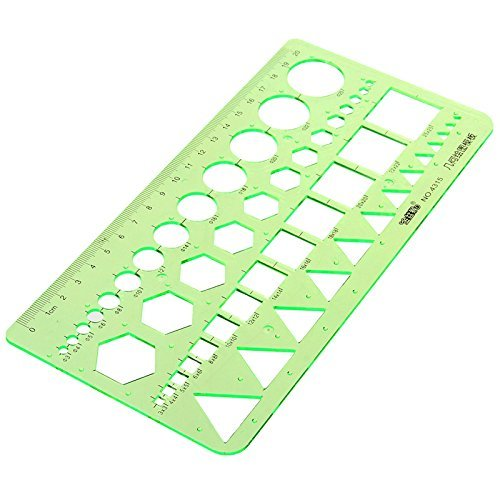 Master Template Plastic Geometric Ruler with 4 designs, 8.6 X 4.2 Inch, Green (Chart Stencil compare prices)
