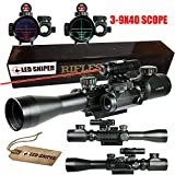 Ledsniper®3-9x40 Illuminated Tactical Rifle Scope with Red Laser & Red Dot Sight (12 Month Warranty)