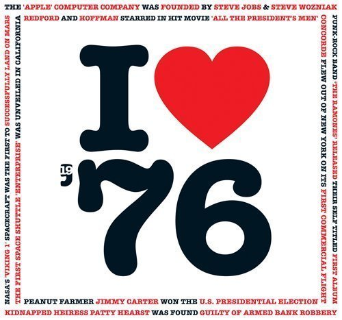 1976 Birthday Anniversary Gifts - I Love 1976 Greetings Card , Chart Hits Music CD , 20 Original Songs