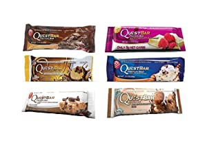 Quest Indulgent Sampler Bundle - Chocolate Brownie, Chocolate Peanut Butter, Chocolate Chip Cookie Dough, White Chocolate Raspberry, Vanilla Almond Crunch, Double Chocolate Chunk - 12 Protein Bars