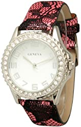 Women's Geneva Classic Lace Watch With Black Lace Band - Pink