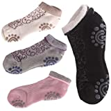 4 Pair Non Slip Silicone Dot Cotton Yoga Socks for Women