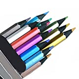 12 Count Metallic Colored Pencils Assorted Coloring Pencil Set Wooden Drawing Pencils For Art Drawing Adult Coloring Book (Color: Black)
