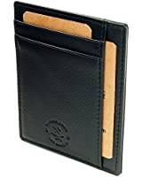 Hammer Anvil RFID Blocking Genuine Leather Front Pocket Wallet Card Case