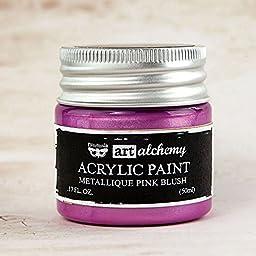 Prima Marketing 963217 Finnabair Art Alchemy Acrylic Paint, 1.7 fl. oz., Metallique Pink Blush