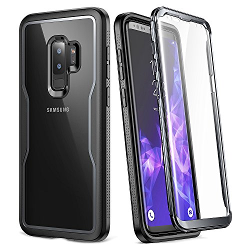 Galaxy S9+ Plus Case, YOUMAKER Crystal Clear with Built-in Screen Protector Full-body Heavy Duty Protection Slim Fit Shockproof Case Cover for Samsung Galaxy S9 Plus (2018) - Clear/Black [+Peso($32.00 c/100gr)] (US.AZ.17.99-0-B07C99718W.3672)