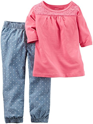 Carter's Baby Girls 2 Pc Playwear Sets, Pink, 18 Months