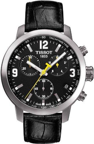 Tissot Men's 'PRC 200' Black Leather Strap Chronograph Sport Watch