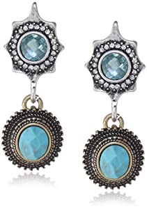 "Lucky Brand ""Winter Glimmer"" Two-Tone Turquoise Double Drop Earrings"
