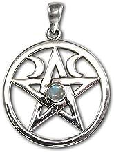 Natural Rainbow Moonstone Pentacle Pentagram Pendant - Sterling Silver Wiccan Pagan Jewelry