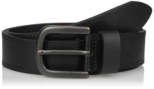 Dickies Men's 1 1/2 in. Leather Belt With Two Row Stitch,black,34