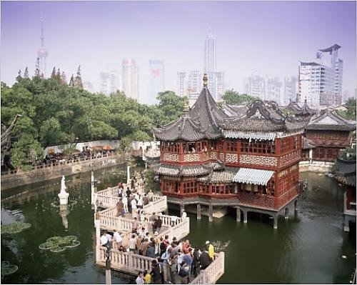 Photographic Print Of Yu Yuan Tea House And City Skyline, Yu Yuan Shangcheng, Yu Gardens Bazaar