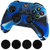 Appliances Parts Best Deals - Silicone Skin Protective Cover for XBOX One Controller [Camouflage Blue + Black Caps] by Alion