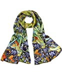 "Dahlia Women's 100% Luxury Long Silk Scarf - Van Gogh ""Irises"" - Green"
