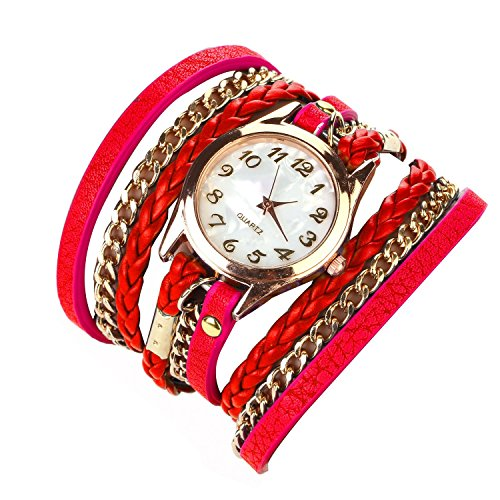 Habors Multiband Classic Watch Red Bracelet With Chains