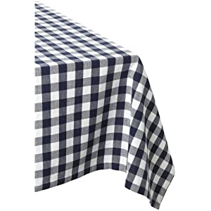 DII Navy and White Checkers Tablecloth 52 x 52""