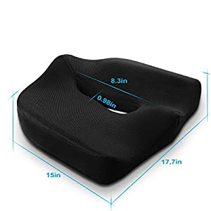 Orthopedic Coccyx Memory Foam Seat Cushion,Cool Mesh Cover with Anti-slip Bottom,Ideal for Wheelchair,Car,Truck driver,Office Chair,Meditation & Yoga Black