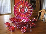 Ruby Red Carnival Glass Deluxe Punch Bowl Platter Cups & Ladle Set