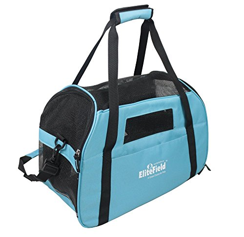 EliteField Soft Sided Pet Carrier (3 Year Warranty, Airline Approved), Multiple Sizes and Colors Available (Large: 19″L x 10″W x 13″H, Sky Blue)