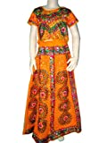 Bohemian Style Lehenga Chaniya Choli Orange Bollywood Dress for Kids