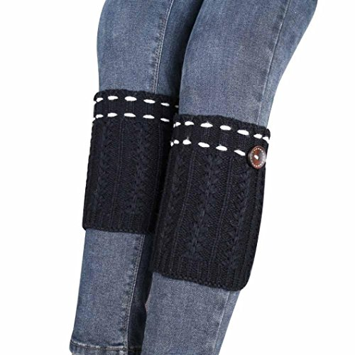 Winhurn Fashion Women Knitted Leg Warmers Boot Cover Socks 1 Pair (Black) (Mantle Covers For Fireplaces compare prices)