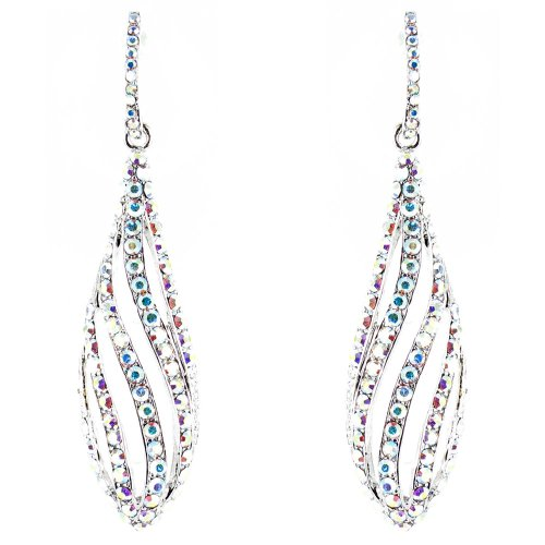Clear Crystal On Silver Plated Supermodel Catwalk Long Drop Earrings front-1068419