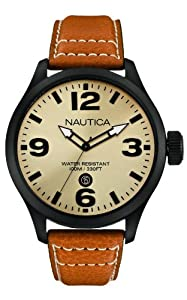Nautica Herren-Armbanduhr XL Analog Quarz Leder A14634G