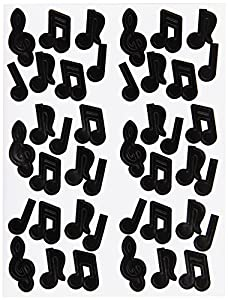 Musical Note Stickers (black) Party Accessory  (1 count) (4 Shs/Pkg)
