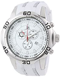 Joshua & Sons Mens JS50WT Swiss Chronograph White Silicone Strap Watch