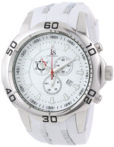 Joshua & Sons Hombre Cronógrafo suizo reloj de correa de silicona, color blanco