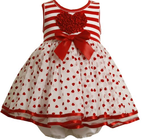 Bonnie Baby Flocked Hearts Organza Skirt With Stripe Knit Bodice , Red, 12 Months